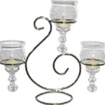 Centerpiece, Scroll with Three Glasses